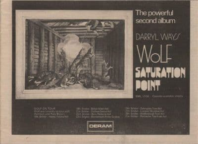 DARRYL WAY'S WOLF Saturation Point A4 Size LP vintage music press advert cutting/clipping 1973