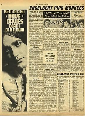 DAVE DAVIES KINKS Death of a clown Vintage Music Press article/cutting/clipping 1967