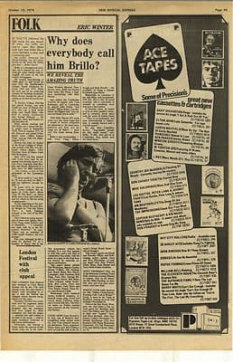 DAVE ETHERIDGE Brillo Vintage Music Press Article/cutting/clipping 1974