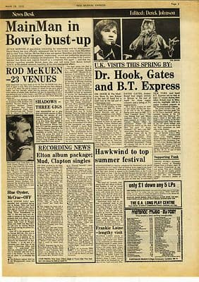 David Bowie Hawkwind Music Press article/cutting/clipping 1975