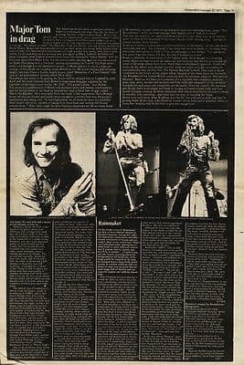 David Bowie Major Tom in Drag page press article/cutting/clipping 1971