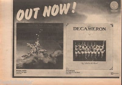 DECAMERON MAGNA CARTA A4 Size Vertigo Original 1974 vintage music press  advert cutting/clipping