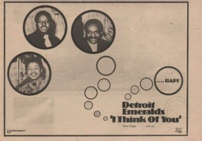 DETROIT EMERALDS I think of you A4 Size single vintage music press advert cutting/clipping 1973