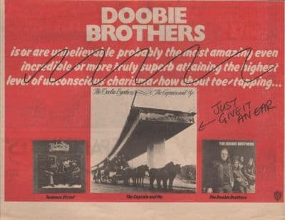 DOOBIE BROTHERS Captain & Me A4 Size LP vintage music press advert cutting/clipping 1973