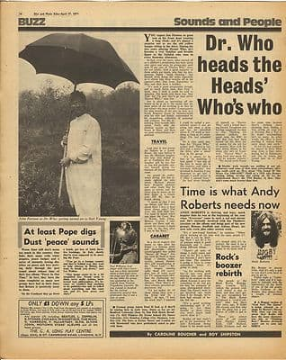 DR WHO JOHN PERTWEE Vintage Music Press Article/cutting/clipping 1971