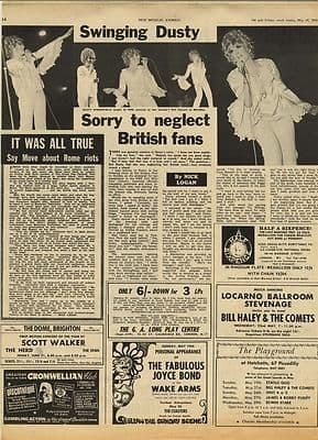 DUSTY SPRINGFIELD The Move Vintage Music Press article/cutting/clipping 1967