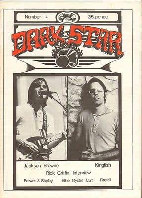 Dark Star magazine No 4 August 1976 Rick Griffin interview Blue Oyster Cult Jackson Browne