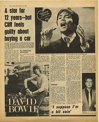 David Bowie Advert Cliff Richard Article Music Press Article/cutting/clipping 1970