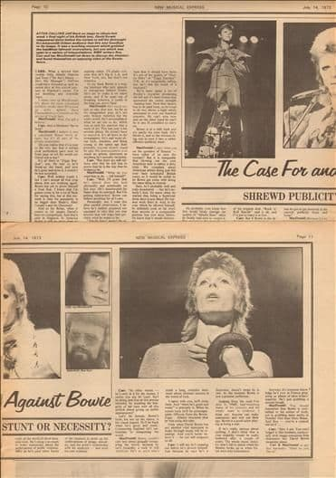David Bowie Case for & against Music Press Article/cutting/clipping 1974