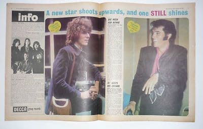 David Bowie Elvis Presley Vintage Music Press Article/cutting/clipping 1970