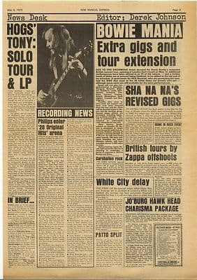 David Bowie Groundhogs FRANK ZAPPA Vintage Music Press Article/cutting/clipping 1973
