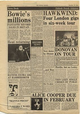 David Bowie Hawkwind Alice Cooper Vintage Music Press Article/cutting/clipping 1973