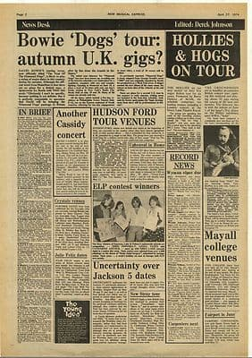 David Bowie Hollies ELP JACKSON 5 Vintage Music Press Article/cutting/clipping 1974