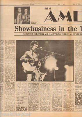 David Bowie In America 2 Page original Vintage Music Press Article cutting/clipping 1973