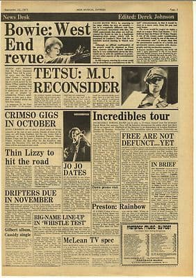 David Bowie KING CRIMSON Thin Lizzy ISB Vintage Music Press Article/cutting/clipping 1973