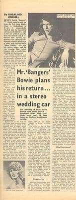 David Bowie Mr Bangers Vintage Music Press article/cutting/clipping 1971