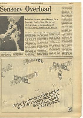 David Bowie Overload 2 pages Vintage Music Press article/cutting/clipping 1973