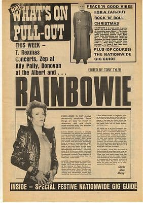 David Bowie Rainbow Gig Guide cover Vintage Music Press Article/cutting/clipping 1972