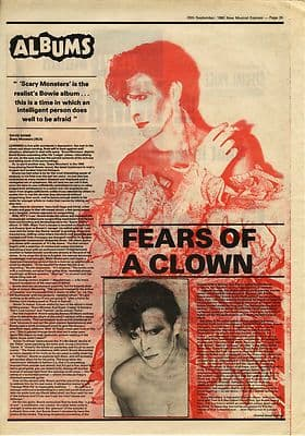 David Bowie Scary Monsters LP review Music Press article/cutting/clipping 1980