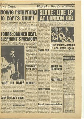 David Bowie Slade CANNED HEAT Sweet Vintage Music Press article/cutting/clipping 1973