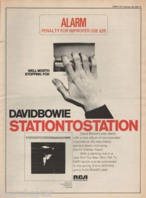David Bowie Station to station Poster Size RCA Vintage music Press cutting/clipping LP advert 1976