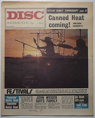 Disc & Music Echo Magazine 10 July 1971 Jim Webb Family Murray Head Greg Lake Emerson Lake Palmer