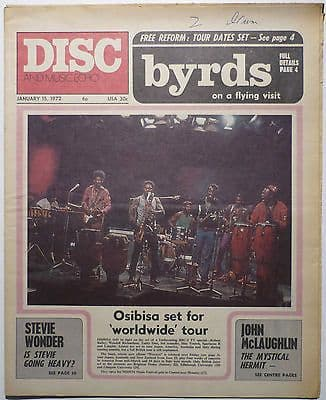 Disc & Music Echo Magazine 15 Jan 1972 Status Quo Free Byrds Stevie Wonder Osibisa John McLaughlin