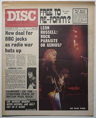 Disc & Music Echo Magazine 18 Dec 1971 Free Jimi Hendrix John Lennon Leon Russell Rory Gallagher