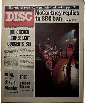 Disc & Music Echo Magazine 19 Feb 1972 Free Stevie Wonder Paul McCartney Joe Cocker Alice Cooper