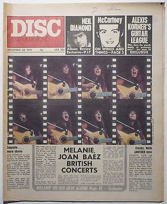 Disc & Music Echo Magazine 20 Nov 971 Paul McCartney Fairport Convention Melanie Neil Diamond