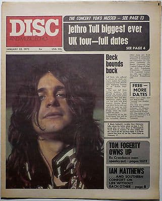 Disc & Music Echo Magazine 22 Jan 1972 Black Sabbath Jethro Tull Jeff Beck David Bowie Tom Fogerty