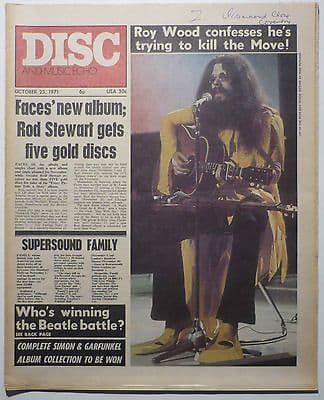 Disc & Music Echo Magazine 23 Oct 1971 The Move Richie Havens Otis Redding Ten Years After Family