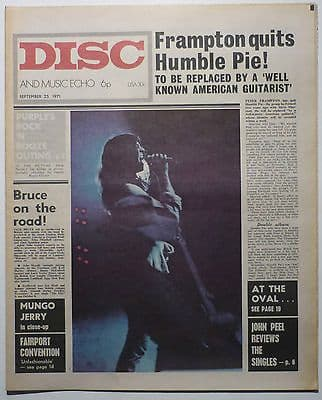 Disc & Music Echo Magazine 24 sept 1971 Deep Purple T Rex Humble Pie Mungo Jerry Fairport Convention