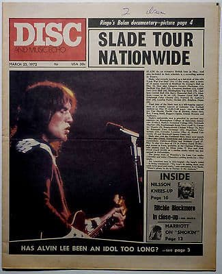 Disc & Music Echo Magazine 25 March 1972 Slade Steve Marriott Genesis Alvin Lee Deep Purple