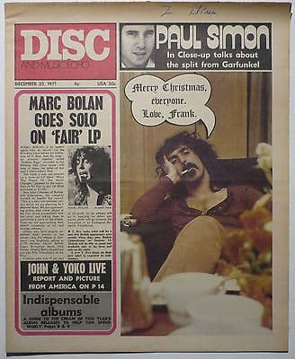 Disc & Music Echo Magazine 25 dec 1971 Frank Zappa T Rex John Lennon Paul Simon
