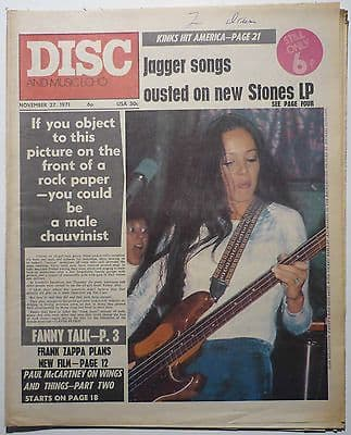 Disc & Music Echo Magazine 27 Nov 1971 Frank Zappa Wings Family Kinks Fanny Supremes Springwater