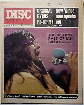 Disc & Music Echo Magazine 29 Jan 1972 Lou Reed John Renbourn Catmother Deep Purple Groundhogs Byrds