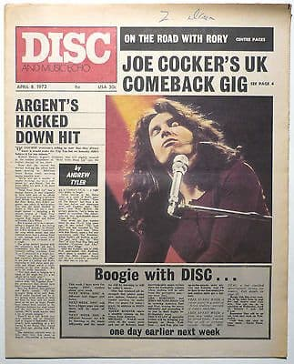 Disc & Music Echo Magazine 8 April 1972 Rory Gallagher Argent Jim Webb Joe Cocker