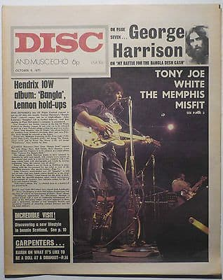 Disc & Music Echo Magazine 9 Oct 1971 George Harrison Yes Incredible String Band The Who Pink Floyd