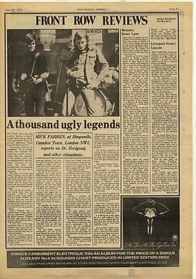 Dr Feelgood Dingwalls Gig review by Mick Farren Music Press article/cutting/clipping 1974