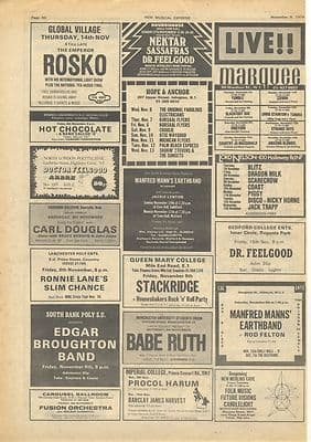 Dr Feelgood RONNIE LANE ROSKO gig guide Vintage Music Press article/cutting/clipping 1974