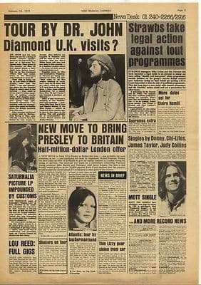 Dr John Elvis Presley SATURNALIA Vintage Music Press Article/cutting/clipping 1973