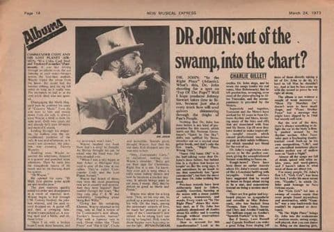 Dr John Out of the swamp...Quarter page Music Press Article/cutting/clipping 1973