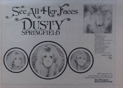 Dusty Springfield See All Her Faces A4 Size Vintage Music Press Advert Cutting/clipping 1973