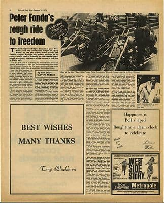 EASY RIDER PETER FONDA Film review Vintage Music Press Article/cutting/clipping 1970