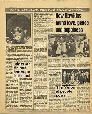EDWIN HAWKINS SINGERS JOHNNY JOHNSON Vintage Music Press Article/cutting/clipping 1970