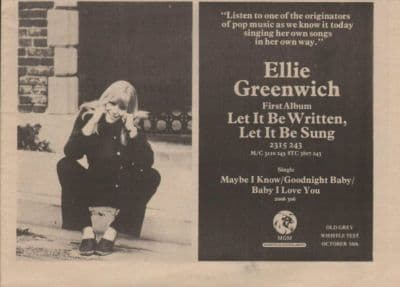 ELLIE GREENWICH Let it be written A4 Size LP vintage music press advert cutting/clipping 1973