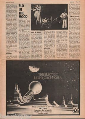ELO LP advert & In the mood original Vintage Music Press Article cutting/clipping 1973