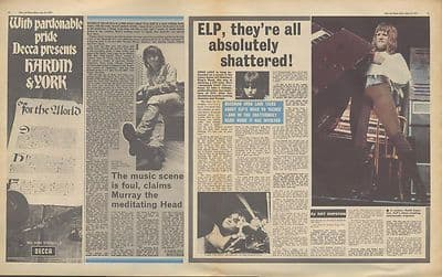 ELP KEITH EMERSON-MURRAY HEAD Interview Music Press article/cutting/clipping 1971