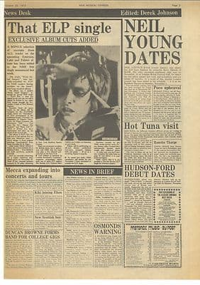 ELP NEIL YOUNG HOT TUNA Vintage Music Press article/cutting/clipping 1973